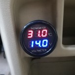 Digital Auto DC 12V 24V Car Thermometer Voltmeter 2 In 1 Temperature Voltage Monitor Red Blue LED Dual Display